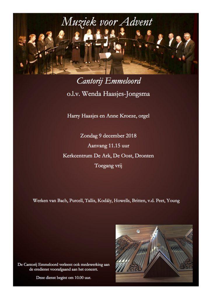 Cantorij Emmeloord geeft adventsconcert na ochtenddienst in De Ark.